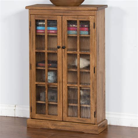 oak cabinets with glass doors rustic oak cd cabinet with rainfall glass doors by sunny