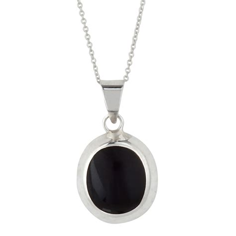Sterling Silver Pendant Necklace silverly 925 sterling silver black onyx oval pendant