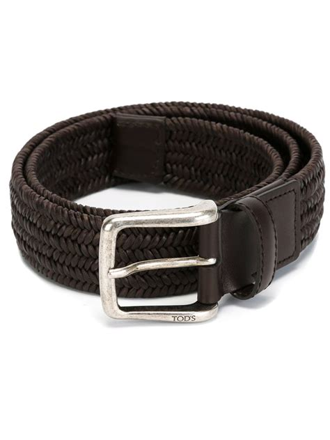 tod s woven leather belt in brown for lyst