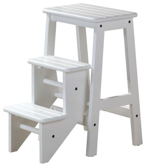 modern wooden step stool 3 step wood step stool in white finish contemporary