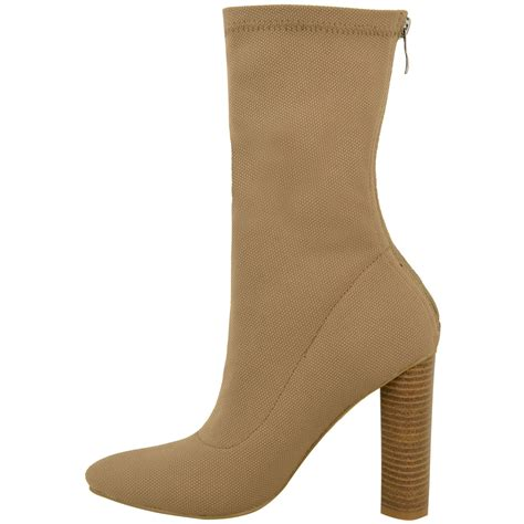 womens smart ankle boots block heel stretchy pull