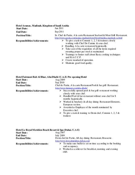 sle of resume for demi chef de partie chef altaf c v 2015