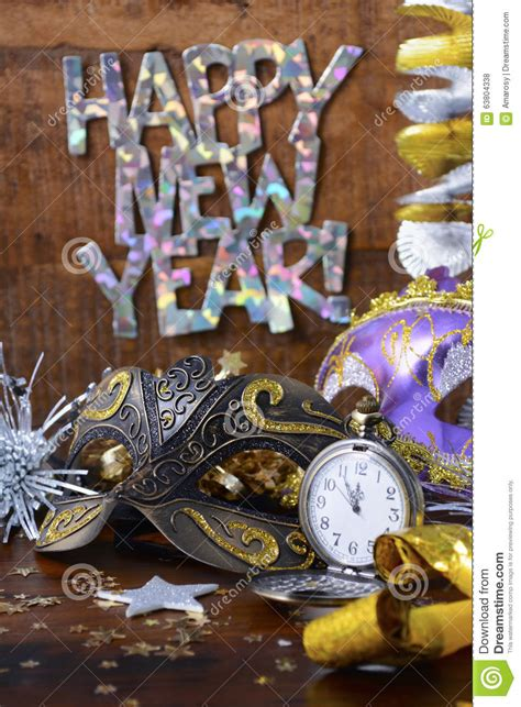 cheerful new year party decorations happy new year party decorations stock photo image