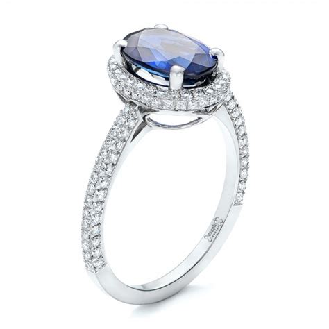 custom blue sapphire and engagement ring 102070