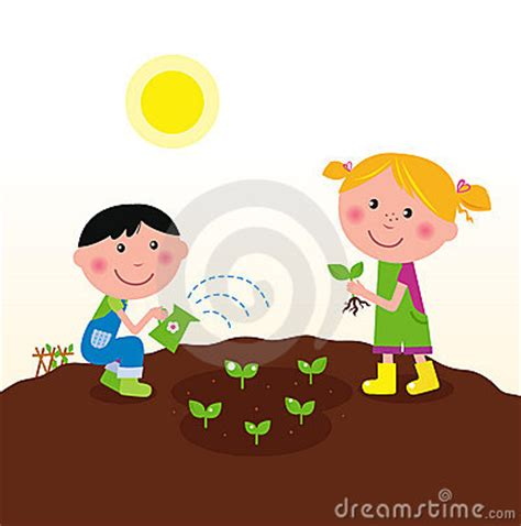 Two Happy Kids Watering And Planting Plants Royalty Free