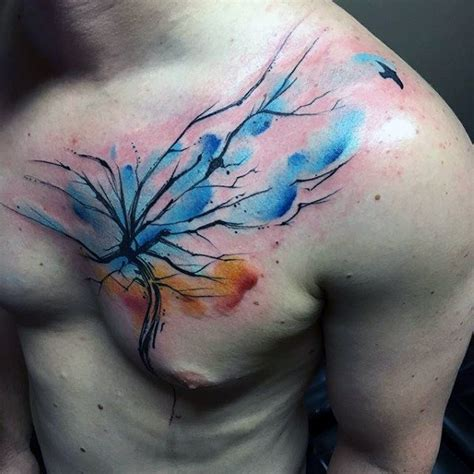 watercolor chest tattoo ideas 70 watercolor tree designs for manly nature ideas