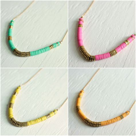 DIY: How to make a beaded necklace with vinyl African heishi beads   A Common Thread