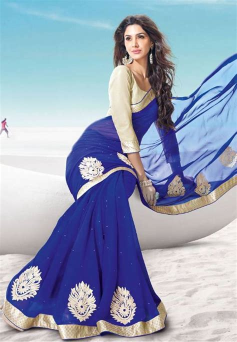 New Sari Sari Original Az buy new blue wear chiffon saree