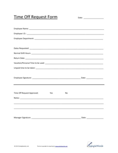 10 Time Off Request Form Templates Excel Templates Time Request Form Template