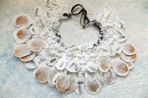Handmade Leaf Paper - fabric handmade paper necklace with real leaves by tomyres