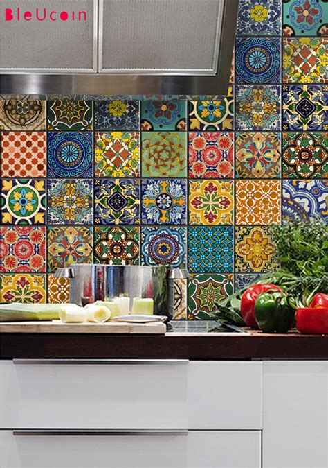 kitchen backsplash stickers bleucoin no 21 mexican talavera tile wall stair floor