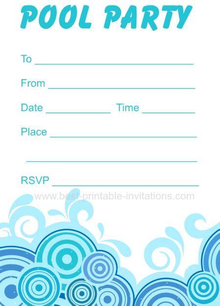 pool invitation template pool invitations free printable
