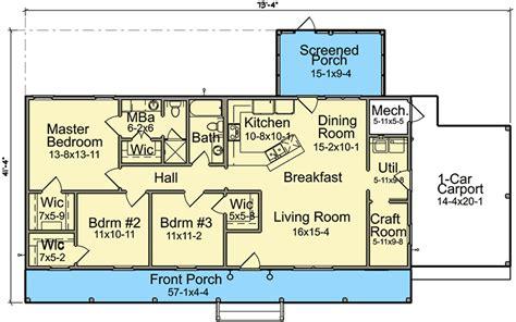carport floor plans economical ranch house plan with carport 960025nck