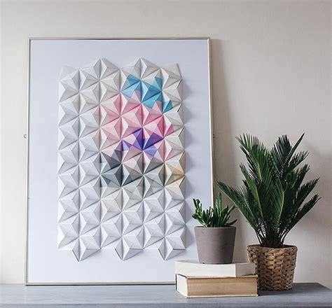 Origami Wall - diy origami wall display design sponge
