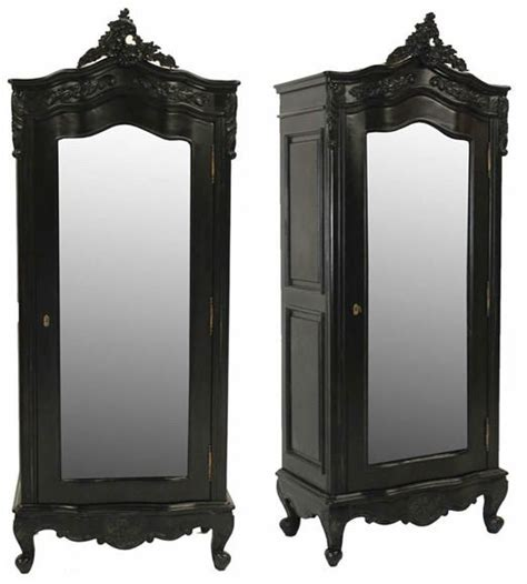 Small Black Armoire Noir Black Painted Small 1 Door Mirrored Armoire
