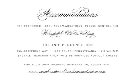 invitation information template wedding invitation accommodation card wording festival