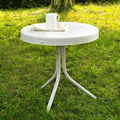 Crosley Outdoor Retro Metal Side Table White Vintage Patio Table