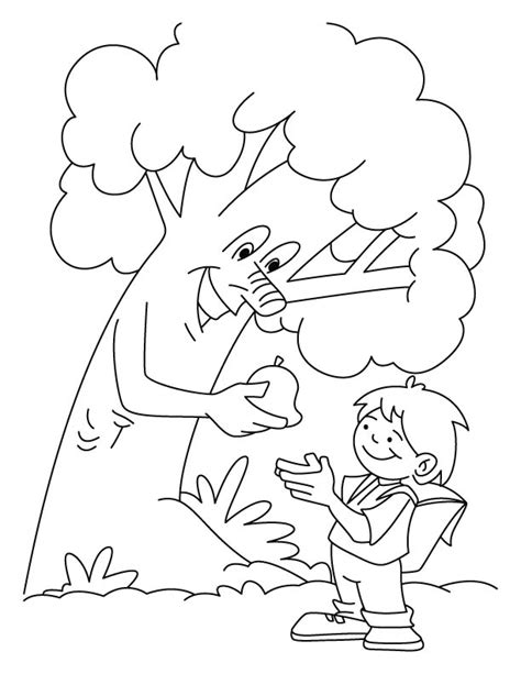tree giving the fruit to a boy coloring pages download