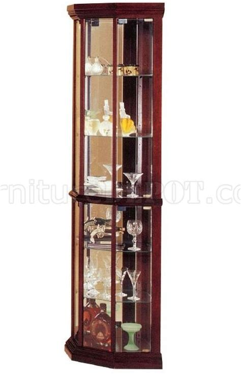 cherry corner curio contemporary cherry finish corner curio