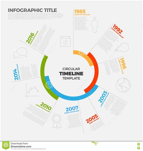 Vector Infographic Circular Timeline Report Template Stock Circular Timeline Template