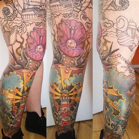 tattoo body color neotraditional leg sleeve color tattoo by body piercing
