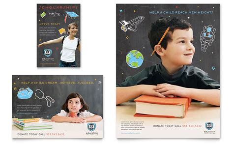 education advertising education foundation school flyer ad template design