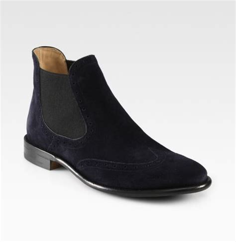 bally suede wingtip chelsea boot in black for lyst