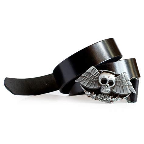 bat buckle leather belt black laticci