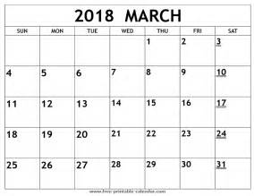 Calendar 2018 For March Printable 2018 March Calendar