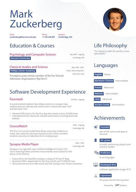 How To Create Online Resume mark zuckerberg s facebook ceo online resume enhancv