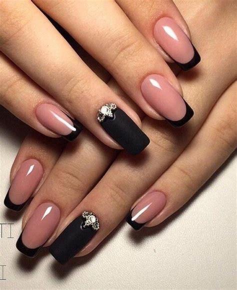 nail art  rhinestone nails black nail designs