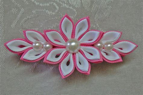tutorial origami ribbon diy kanzashi flower hairclip kanzashi flower tutorial
