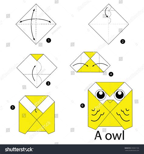 Origami Owl Easy - step by step how make stock vector 335831726