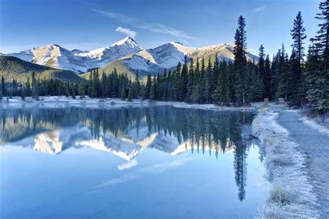 canada albert lake kananaskis mountain sky forest tree