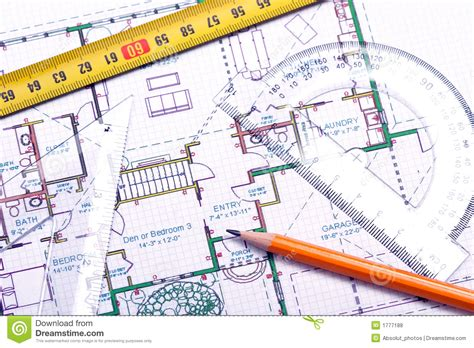 Draw Floor Plan To Scale floor plan and architect s tools royalty free stock photos
