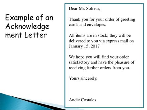 Thank You Letter Purchase Order Received order acknowledgement and delay in order letter