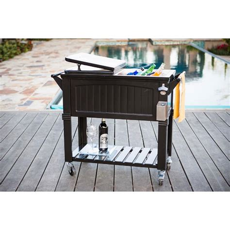 rolling patio cooler permasteel 80 qt black antique furniture style rolling
