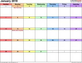 Calendar 2018 January Printable January 2018 Calendars For Word Excel Pdf