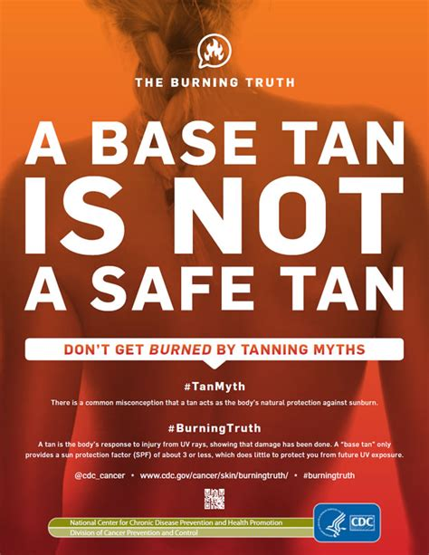 cdc burning truth a base tan is not a safe tan skin