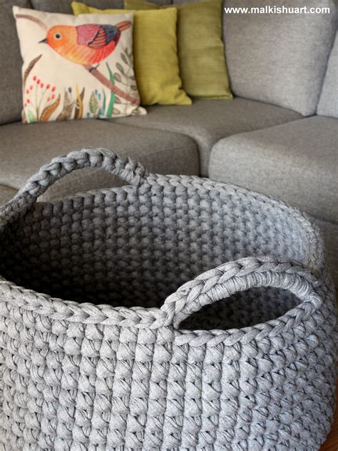knitted t shirt rug pattern t shirt yarn crochet basket a perfect storage solution