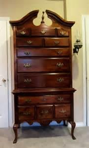kitchen shelves country: cherry queen anne highboy dresser  drawer furniture art and