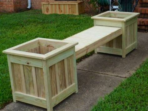 wooden bench with planters diy bench and planter combination patio pinterest
