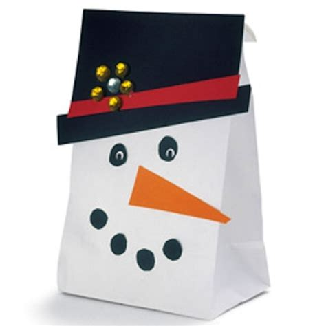 Paper Bag Snowman Craft - brown snowmen craft projects