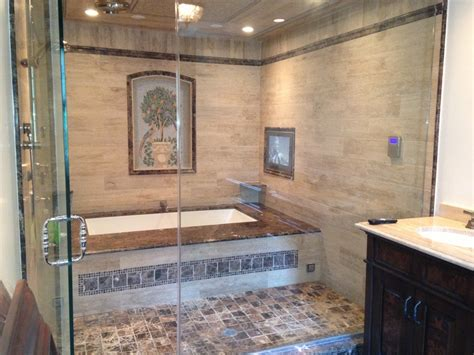 glass enclosed tub shower combo interior exterior