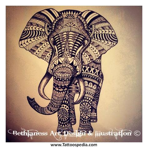 elephant tribal tattoo aztec elephant tattoos 1