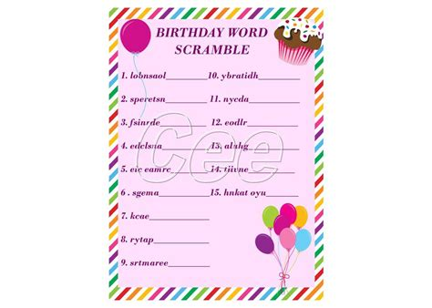 printable word games for parties birthday party game party game for girl printable birthday