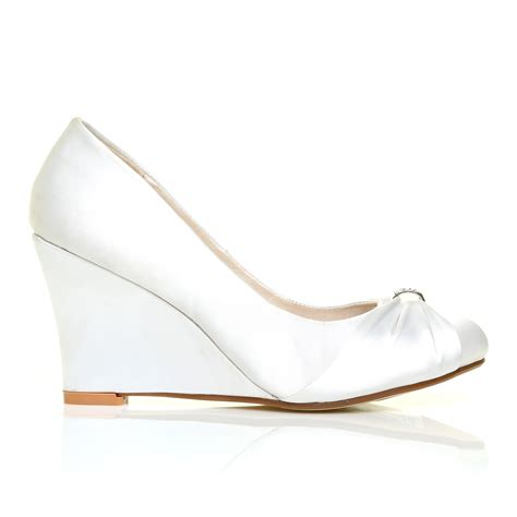 New Arrival Jr Wedges Shos B 38 white satin wedge high heel bridal court shoes ebay
