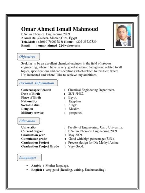 Sample Resume Of Project Engineer by Chemical Engineer C V
