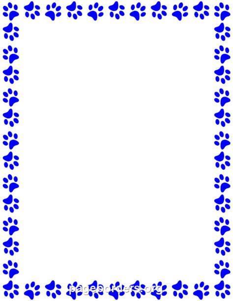 Paw Print Page Border Clip by Blue Paw Clipart 37