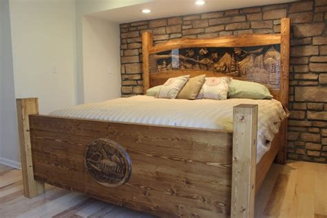 Pine Platform Bed Queen - handmade king size headboard matching footboard amp rails hand carved in pine by scott